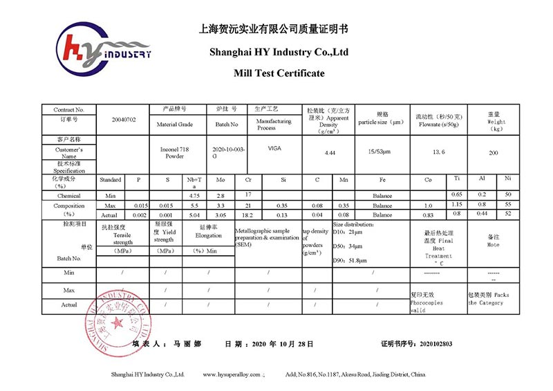 HY-Industry MTC- Inconel 718 Powder with particle size 15 to 53μm